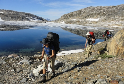 Hiking group on the Greenland Trail